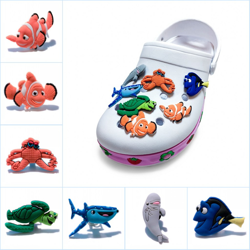 756c8d046b66 5pcs ot Cute Finding Dory PVC Shoe Charms Shoe Buckles Accessory Fit  Wristbands Bracelet Croc JIBZ Kid Party Gift Christmas Gift-in Shoe  Decorations from ...