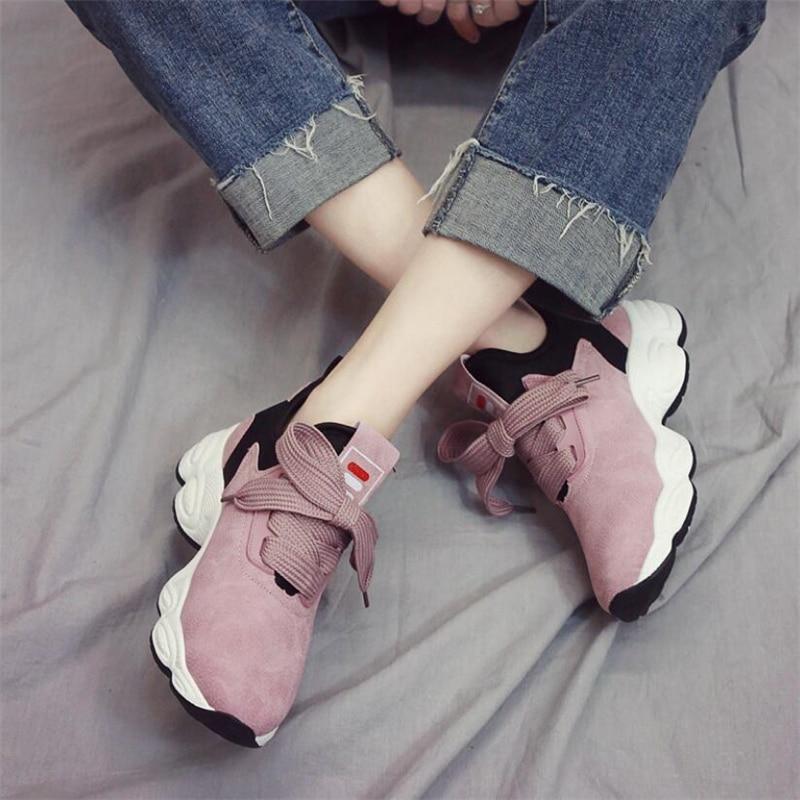 2019 Women Sneakers platform Flat Girl Ladies Chunky Casual