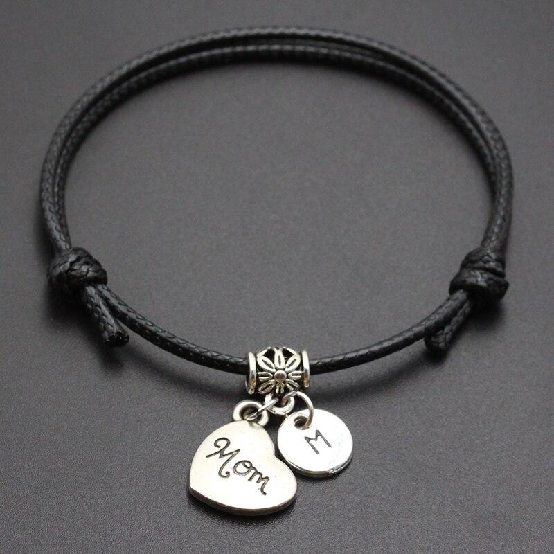 New A-Z Letters Mom Heart Pendant Red Thread String Bracelet Handmade Diy Lucky Rope Bracelet For Women Men Jewelry Gift