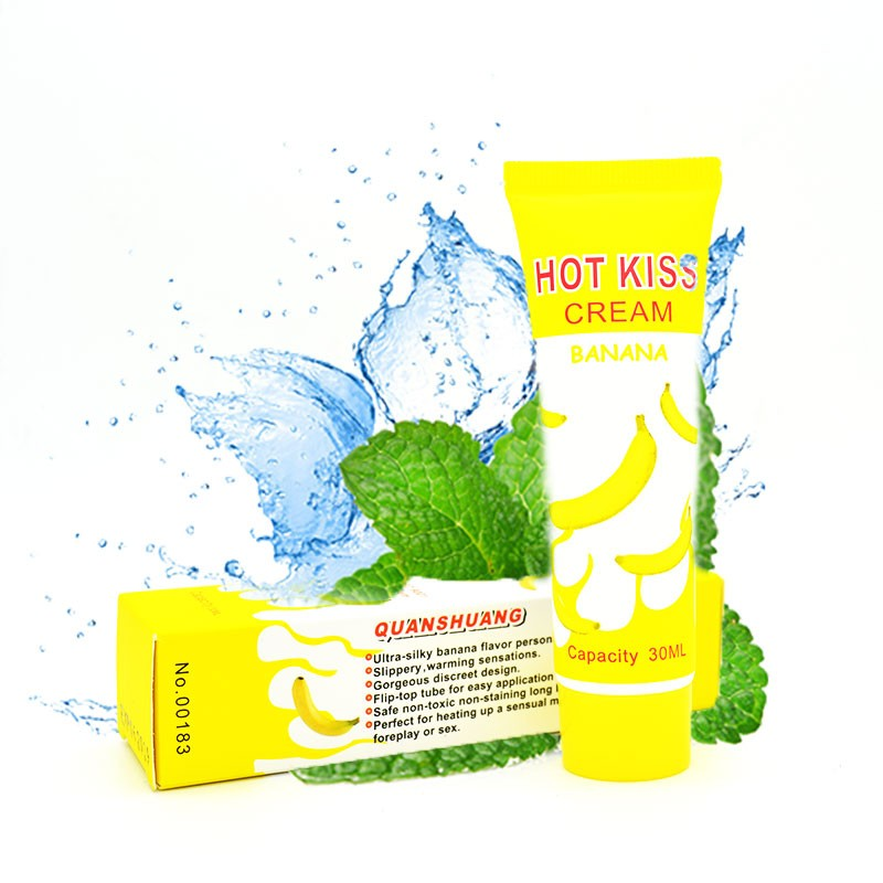 HOT KISS Grease Lubrication Banana Cream Edible Personal Body Grease Oral Vaginal Anal Lubricant For Sex Massage Oil