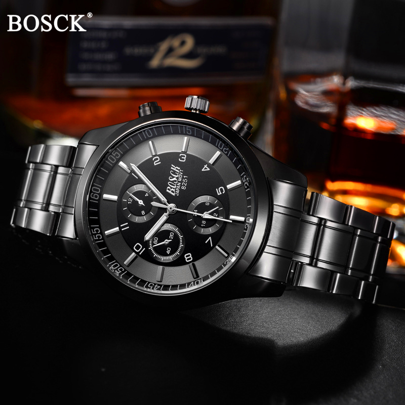 BOSCK Top Luxury Brand Watch Men Casual Brand Watches Male Quartz Watches Men Waterproof Business Watch Military Stainless Steel