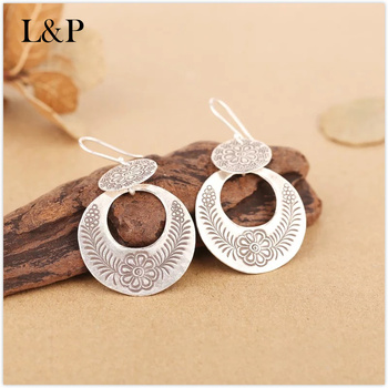 L&P Sterling Silver Pure Handmade Drop Earrings women jewelry,Top quality National style earrings for girl,birthday gift