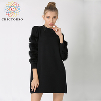 Chictorso Real Fur Long Sleeve Women Sweater Pullovers Girls Jumpers Dresses Knitted Top Fashion Winter Sweaters Outwear Black