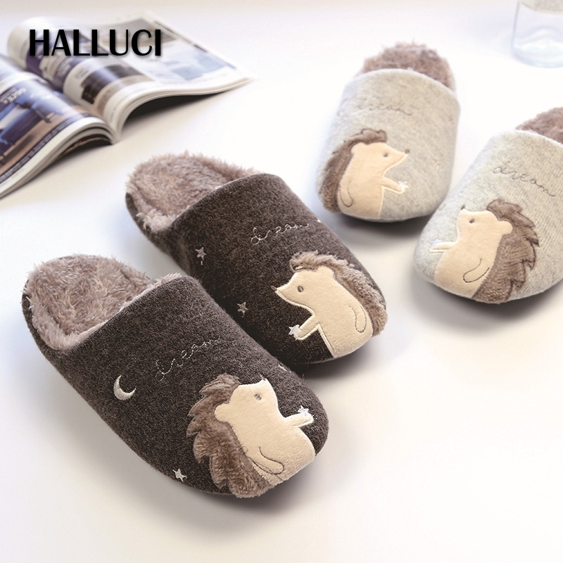 HALLUCI Hérisson accueil pantoufles femmes chaussures couples mignon pulsh chinelo chaussons fluffy zapatos mujer pantufa sapatos mulher