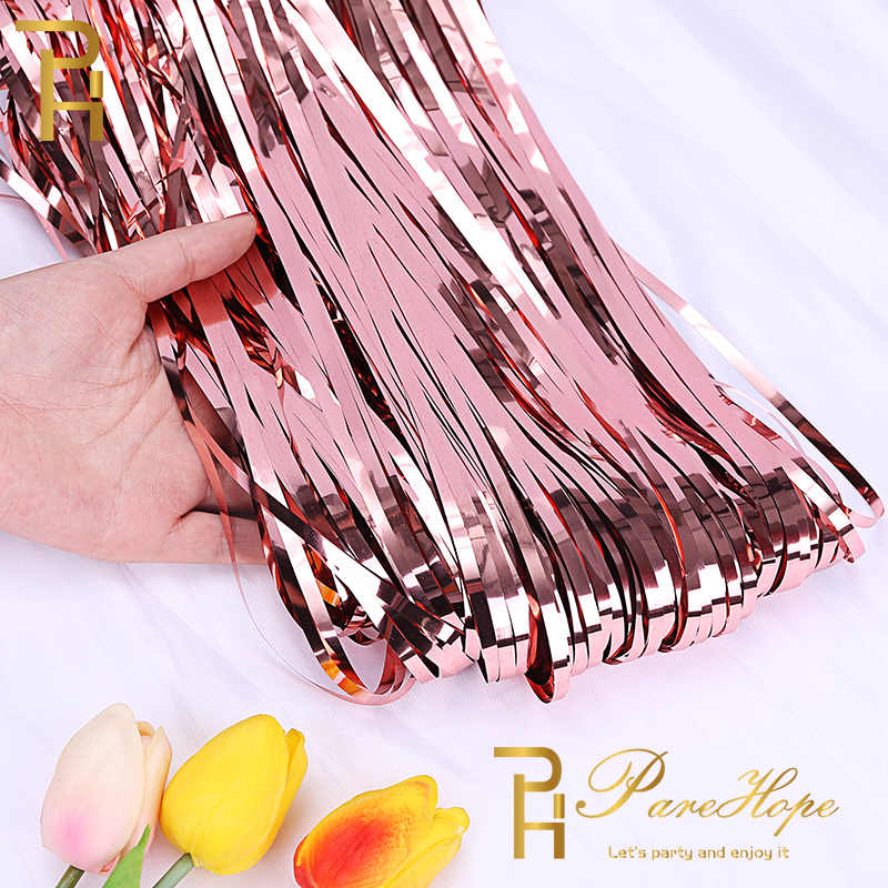 Baby Shower Wedding Backdrop Curtain Tinsel Foil Rain Curtains Adult Birthday Party Decorations Kids Unicorn Photo Booth Drapes