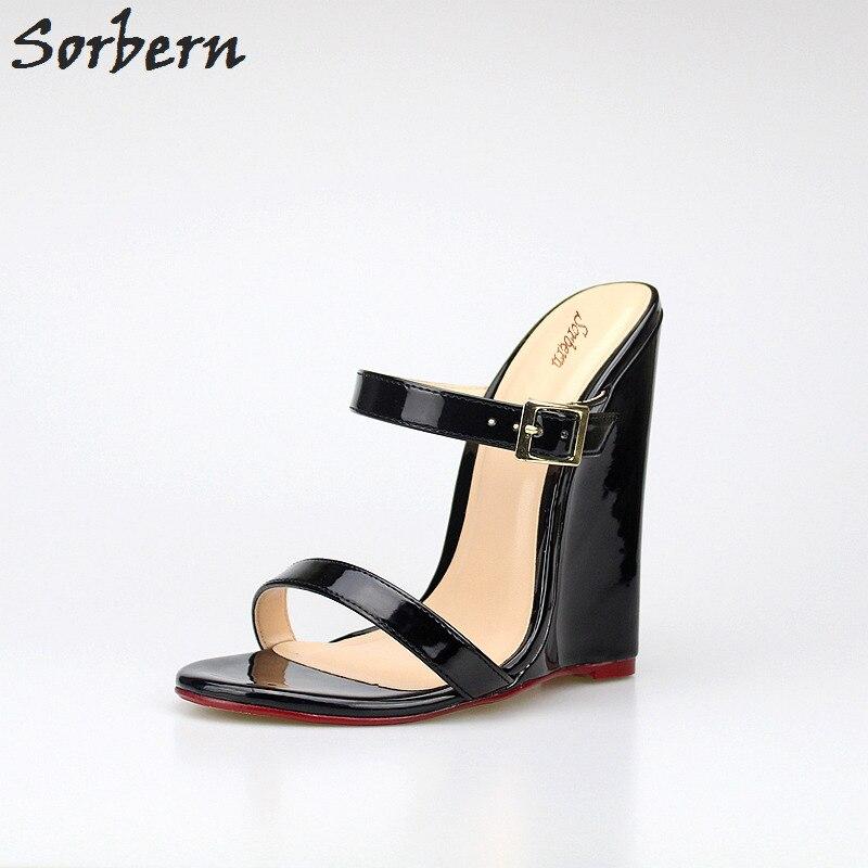 89716258c0ea Sorbern Wedge High Heels Slippers Ladies Plus Size 40 46 Open Toe ...