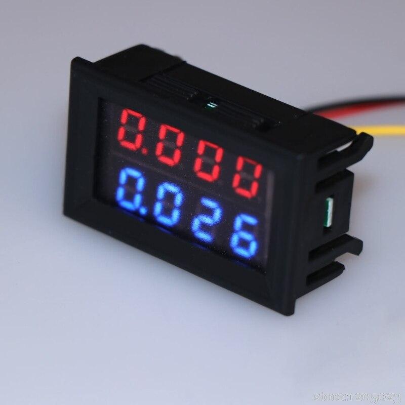 Digital DC Voltmeter Ammeter DC 100V 10A Voltage Current Meter Power Supply Red Blue LED Dual Display L13