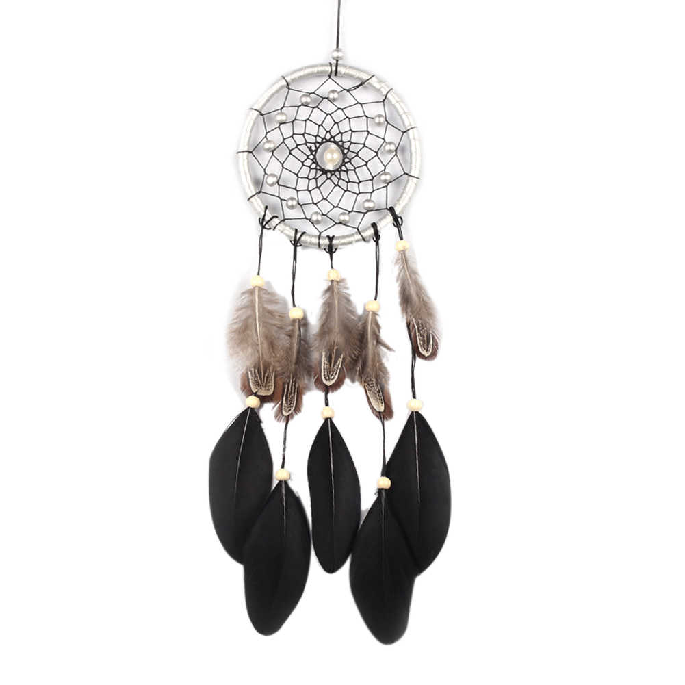 45 cm Handmade Dreamcatcher Black Feather Lace Dream Catcher Bead Hanging Decoration Ornament Gift For Car/Home Decor
