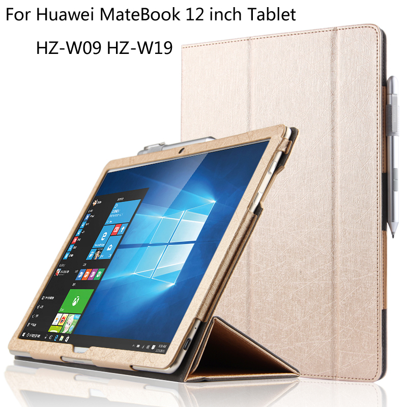 For Huawei MateBook HZ-W09 HZ-W19 12 inch Tablet ultra-slim Folding PU Leather Cover Shell with stand Protective Case + Stylus mediapad m3 lite 8 0 skin ultra slim cartoon stand pu leather case cover for huawei mediapad m3 lite 8 0 cpn w09 cpn al00 8