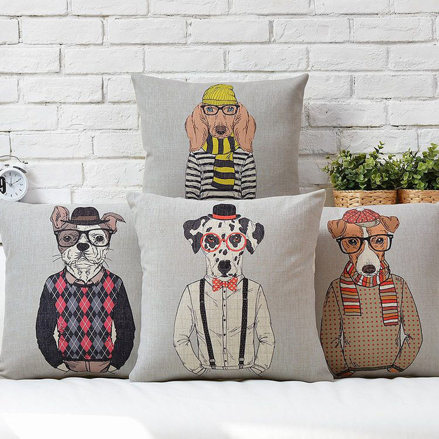 Free Shipping Christmas Gift Cool Mr. Dog With Hat Glasses Sweater Pattern  Linen Cushion Cover