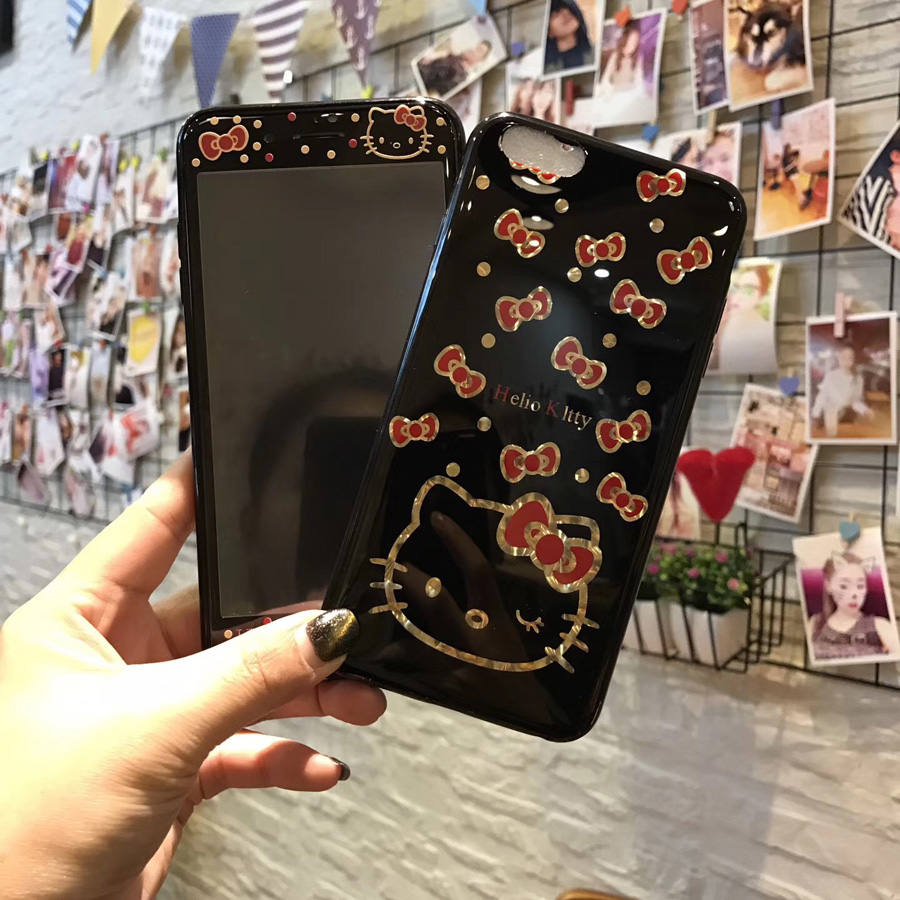 For iPhone 8 8plus Kitty Case + Tempered Glass Screen film , plating smooth KT Cartoon case for