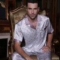YIER Marca Verano Hombres Pijama De Seda ropa de Noche Fija Pijamas de Los Hombres de Los Hombres de Manga Corta Pantalones 100% Pijama de Seda Conjunto Loungewear Ropa