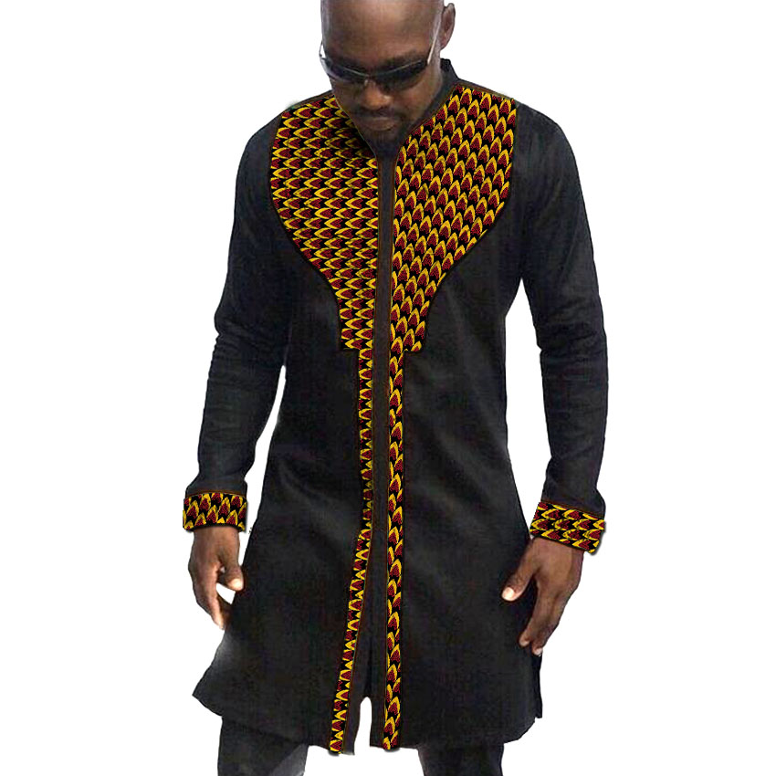African print mens shirts fashion man dress shirt male dashiki ankara cotton and wax patchwork long style shirt customized