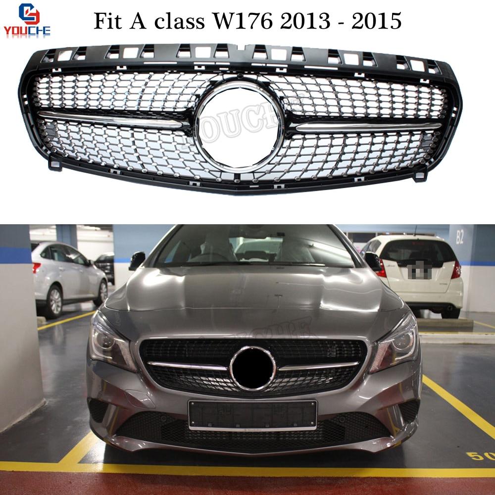 Grille diamants noirs avec emblème étoile pour Mercedes classe A W176 2013-2015 A160 A180 A200 A250 A45 AMG Grille maille