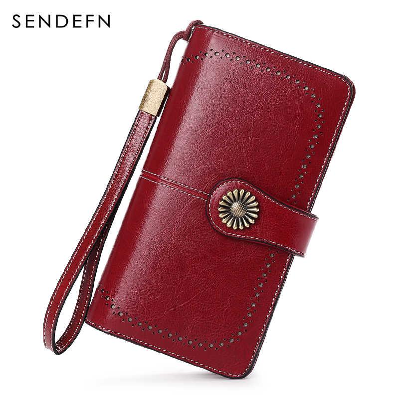 Большая емкость женщины сцепления новый кошелек сплит кожаный бумажник женский длинный кошелек женщин молния кошелек ремень выдалбливают портмоне