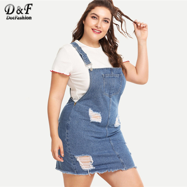 Dotfashion Plus Size Blue Frayed Edge Distressed Denim Overall Dress Women 2019 Casual Summer Clothes Straps Sleeveless Dress 3