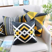 Yellow Black White Geometrical Pillow Cover