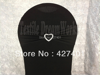 Hot Sale Black Spandex Bands / Lycra Band /Chair Covers Sash With Heart Shape Buckle For Wedding & Banquet
