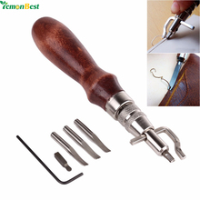 5 in1 DIY Leathercraft Adjustable Pro Stitching Groover Crease Leather Tools