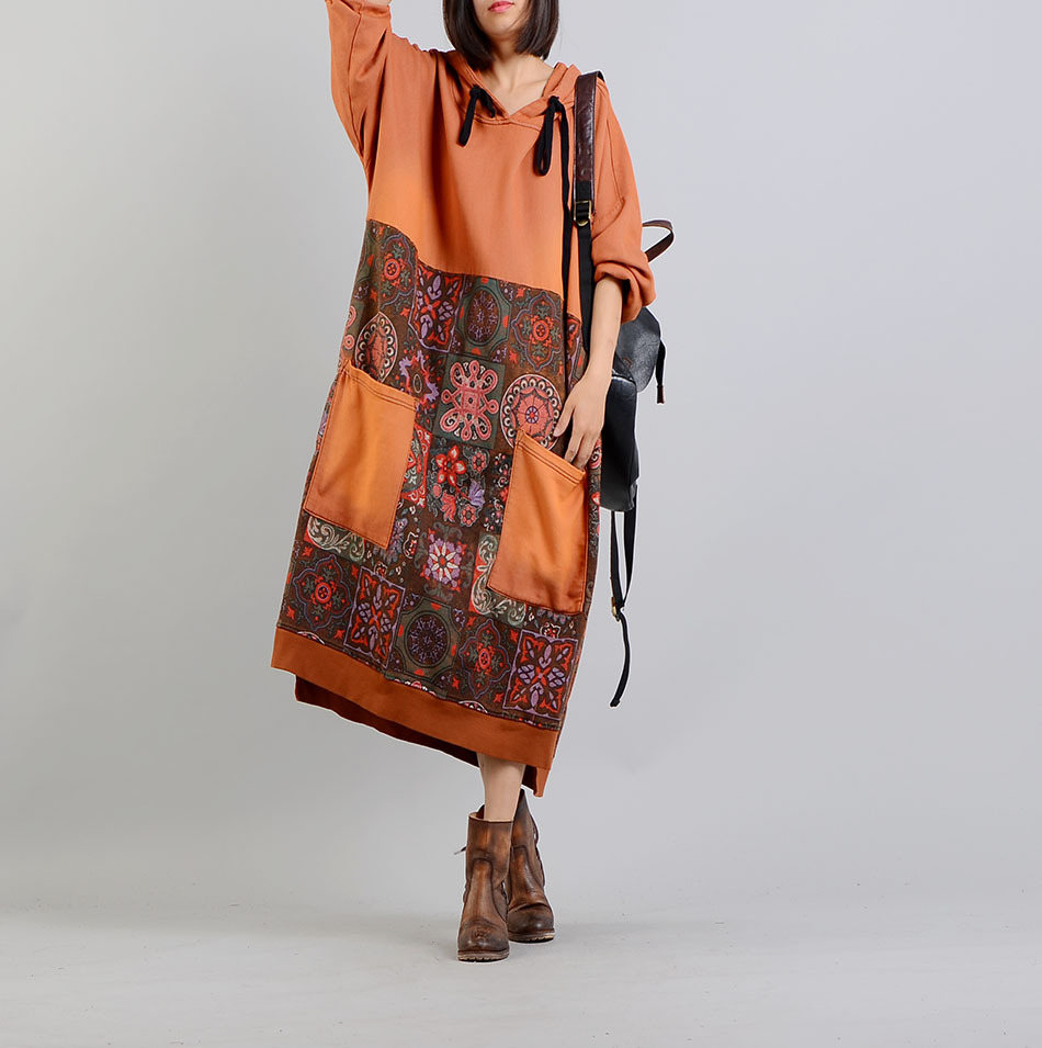 Women Spring Hooded Print Patchwork Plus Size Dress Loose Retro Casual Printed Dress Female Retro Dress