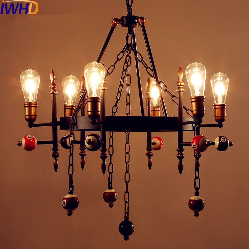 IWHD Loft Style Industrial Lamp Vintage Pendant Lights Fixtures Billiards Snooker Retro LED Pendant Light Edison Lampara british snooker billiard lamp senior clubs casino card room lamp cradle pendant lights wwy 0431