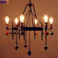 Iwhd stylu loft przemysłowe lampy w stylu vintage wisiorek światła oprawy bilard snooker retro wisiorek światła led edison lampara