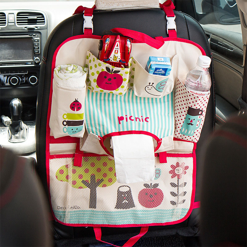 Travel Cartoon Baby Diaper Bags for Mom Car Seat Hanging Storage Bag portable car hanging organizer bag Sundries organizadores