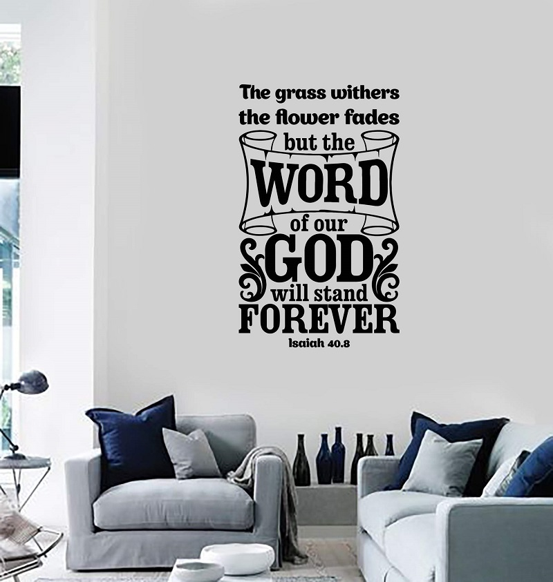 Vinyl wall decal bible verse prayer room indoor religious home decoration art sticker mural 2SJ52 in Wall Stickers from Home Garden