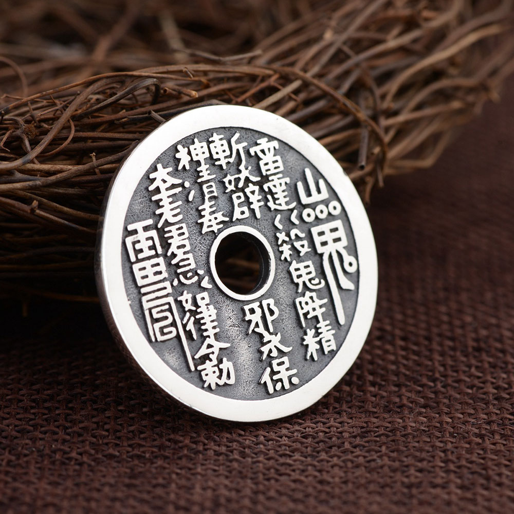 FNJ 925 Silver Round Flat Pendant Good Luck Buddha Coins 100% Pure S925 Solid Thai Silver Pendants for Women Men Jewelry Making