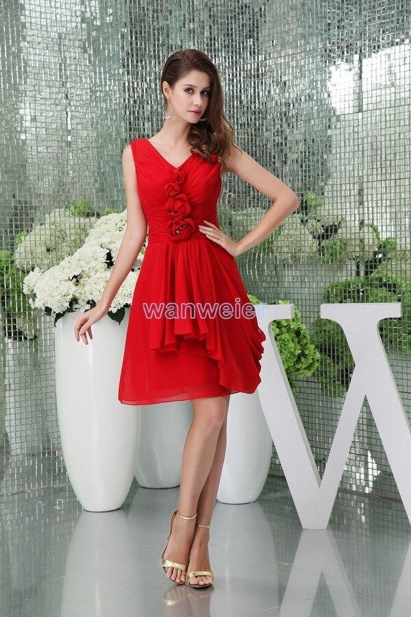 free shipping 2016 new hot custom size short chiffon plus size bridal   dress   cap sleeve handmade flowers red   Bridesmaid     Dresses
