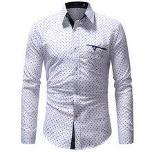 Good Qualiy 2019 Star Print Long Sleeve Turn-Down Collar Dress Shirts Men Slim Fit Casual Shirt Camisas Eu Size