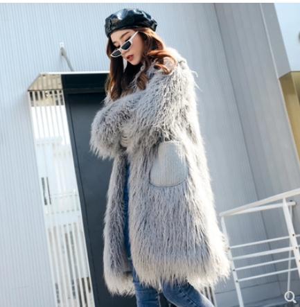 Outwears Laine Chaud Xl Élégant Pour J2622 Faux De Femmes Longue Lâche Poches S Jolie Section Tops Grey pink Manteaux Femme Fourrure Vêtu nUqEIEzX