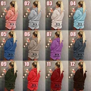 New Women Coral Velvet Suit Two Piece Autumn Winter Pajamas Warm Sleepwear Cute Cat Meow Pattern Hoodies Shorts Sets(China)