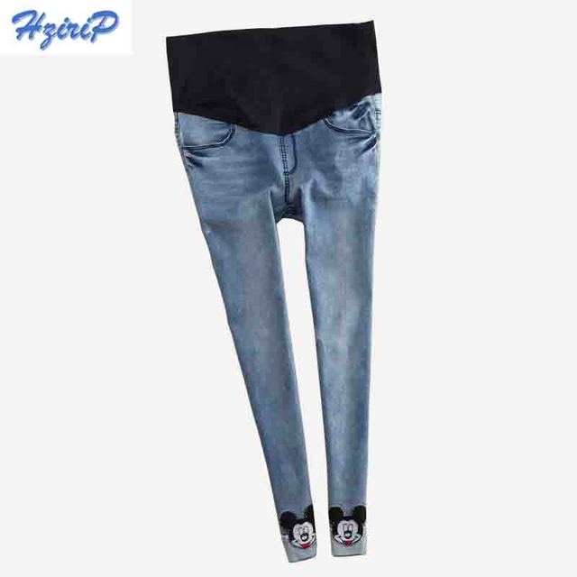 Blue Winter thick Warm Fleece Elastic Waist 100% Cotton Maternity Jeans Pants For Pregnancy Clothes For Pregnant Women Legging