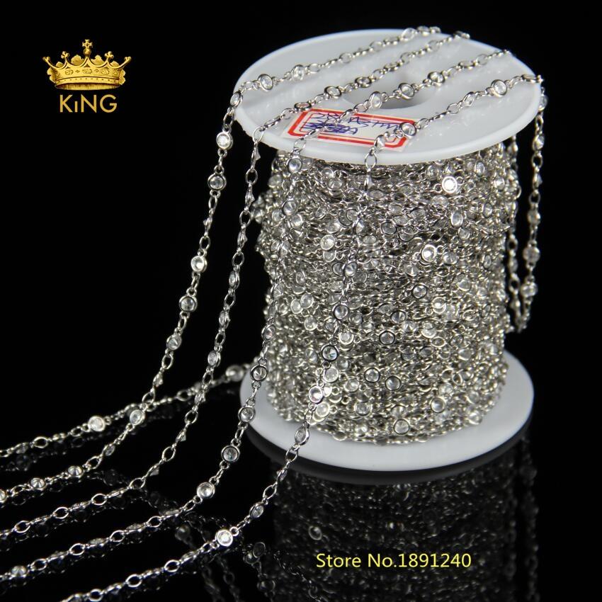 Chaîne de chapelet de mode nouveau 3mm Zircon à facettes perles rondes placage d'argent collier de chaîne Multi choix HX088