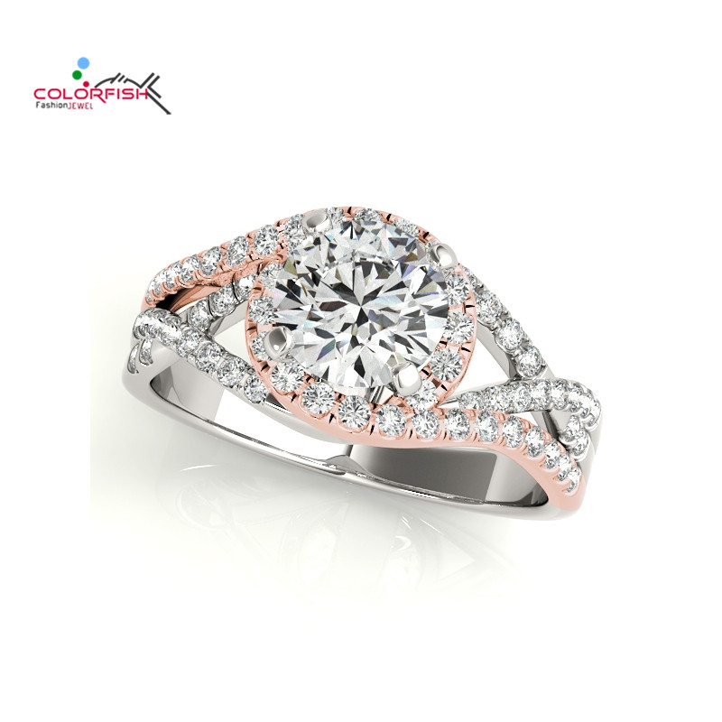 COLORFISH Round Cut 1ct 925 Sterling Silver Halo Engagement Rings For Women Wedding Jewelry Two Tone Rose Gold Color Silver Ring