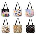 Женская дорожная практичная сумка через плечо с рисунком милого кота  прочная Льняная сумка-тоут для маркетинга  повседневная школьная сум...