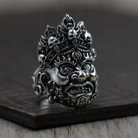 Thai silver 925 to create a personalized ring opening retro old men Mahakala Ring Sterling Silver Jewelry