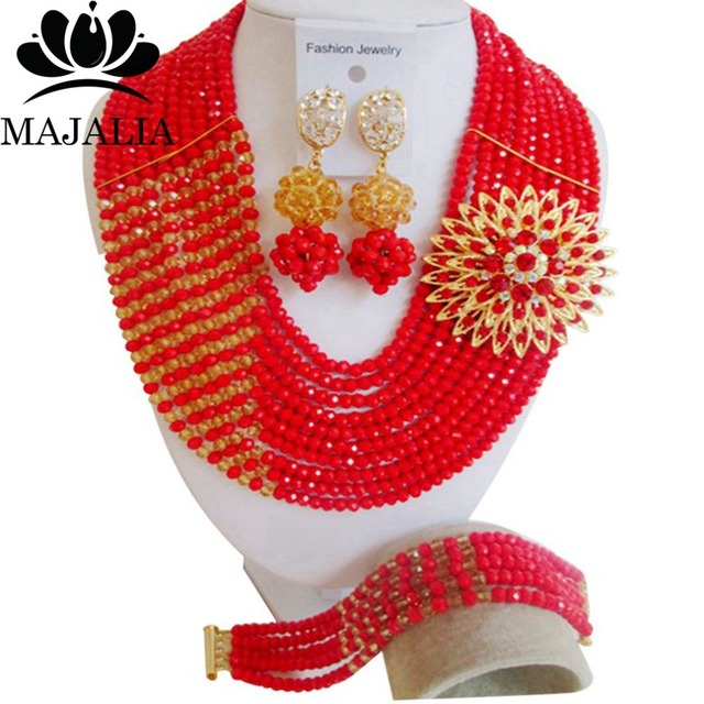 2017 Fashion african beads jewelry set red Nigeria Wedding Crystal necklace Bridal Jewelry sets Free shipping VV-063