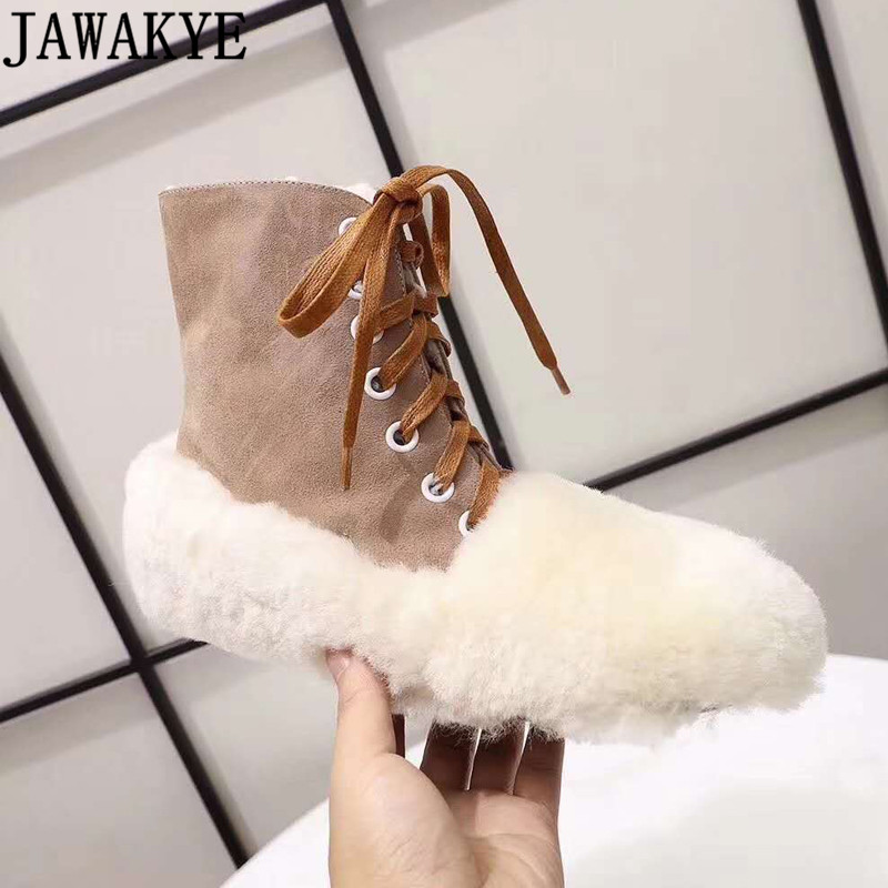 Flat heel Ankle Boots for women 2018 genuine leather high top lace up casual shoes wool fur warm winter snow botas mujer top 2017 women snow boots wool fur inside lace up nubuck genuine leather fashion brand black brown martin motorcycle shoes