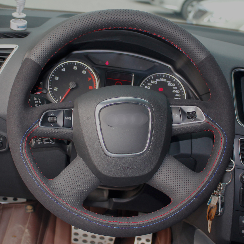 Black Natural Leather Black Suede Car Steering Wheel Cover for Audi Old A4 B7 B8 A6