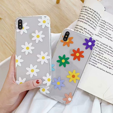 Daisy Sunflower Floral Flower Soft Silicone Phone Case for iphone 7 8 plus X XR XS Max 6 6s 6plus TPU Back Cover