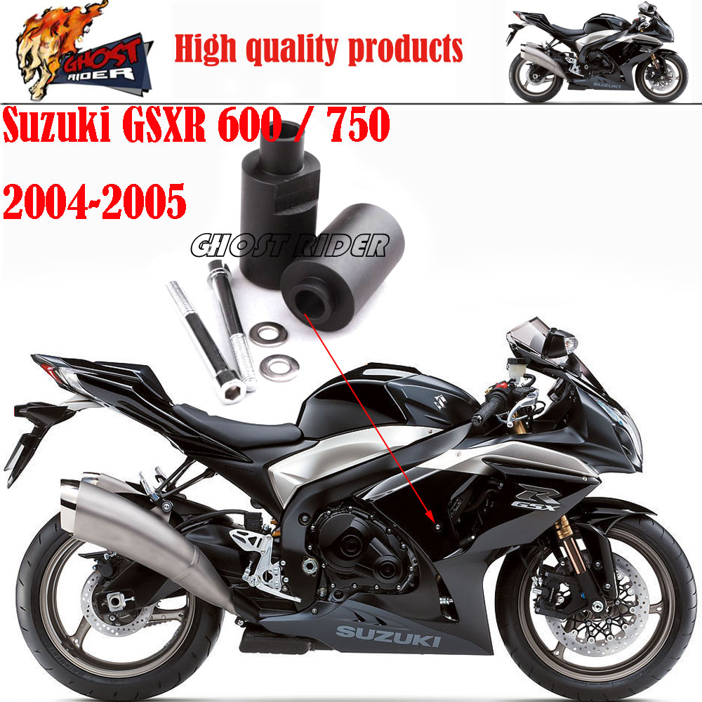 Motorcycle Racing No Cut Crash Pads Fairing Frame Protectors Slider Fit For 2004-2005 Suzuki GSXR 600 / 750 aftermarket free shipping motorcycle parts no cut frame slider crash protector for 2004 2011 yamaha fz6 fazer fz6s carbon fiber