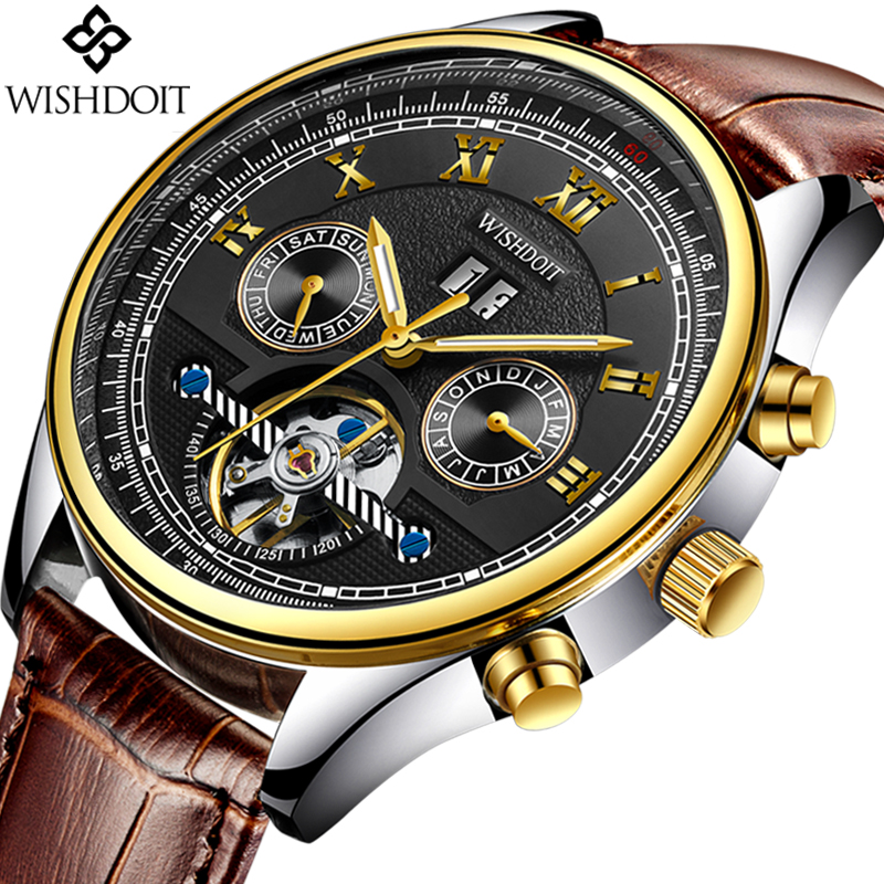 WISHDOIT Relogio masculino Men's Watches Top Brand Luxury Business Leather Waterproof Watch Men's Fashion Casual Sports Watch
