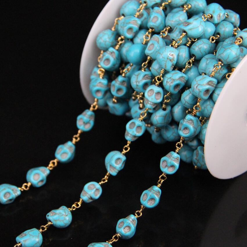 5 Metro/lote, 8x10mm Tamanho Do Crânio Azul Turquesas Corrente Do Rosário, rosário Charme Turquesas placa de Ouro Fio Enrolado cadeias cadeia de camisola Das Mulheres