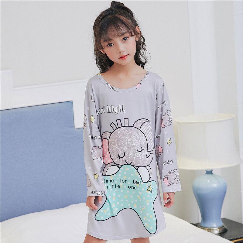 2018 Leisure Herfst Meisjes Nachtjapon Lange Mouw Pyjama Voor Kinderen Nachtkleding Cartoon Kids Night Dress Teen Nachthemd