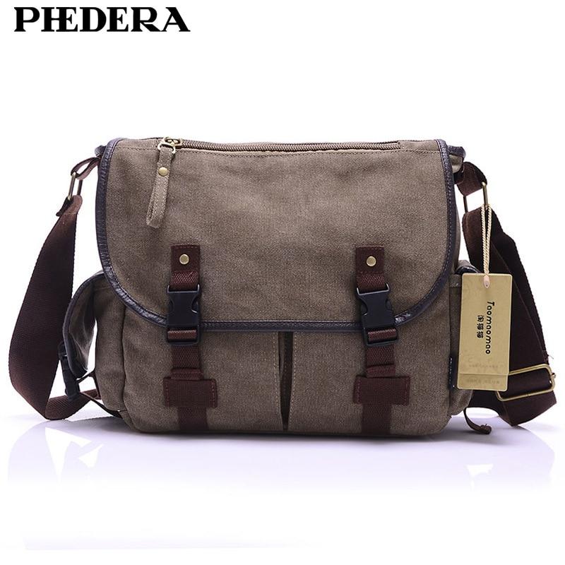 PHEDERA Brand Canvas Men Messenger Bags Casual Retro Shoulder Bags for Male Fashion Beige/Black/Brown Men Crossbody Bag