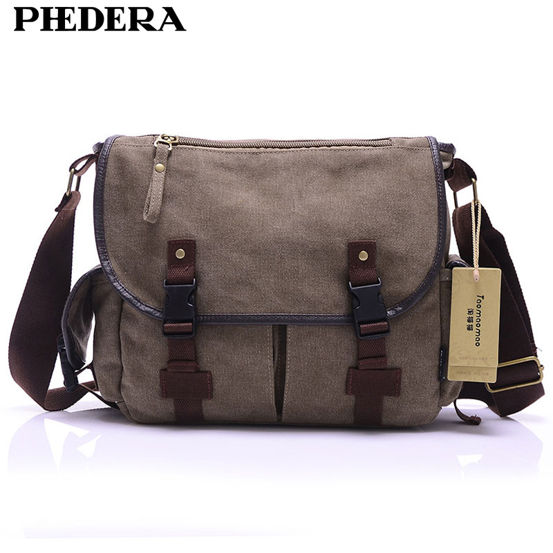 PHEDERA Brand Canvas Men Messenger Bags Casual Vintage Travel Shoulder Bags for Male Fashion Beige/Black/Brown Men Crossbody Bag
