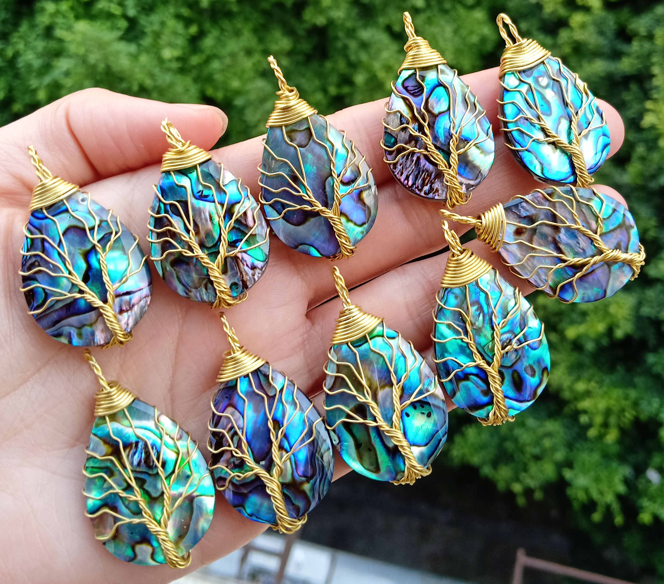 Natural Abalone Shell Pendant bead Tree of life Energy Reiki Healing Amulet