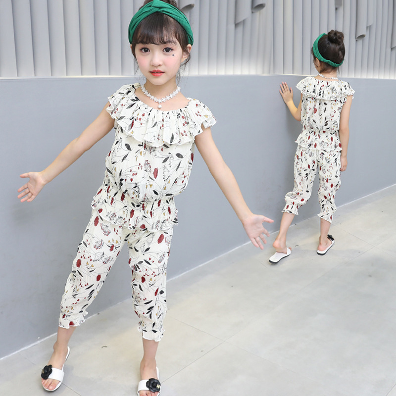 floral chiffon girls clothing sets teens summer kids clothing sets for girls clothes suits 2 pieces set blouses shorts baby sets kids clothes sets for girls turn down collar blouses